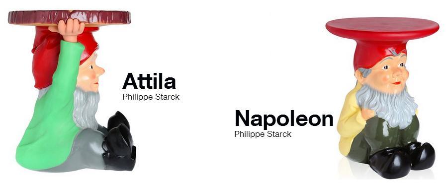 Kartell tabourets nains de jardin Attila et Napoleon ...